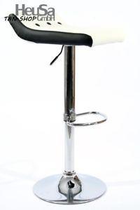 a taburete de bar blanco negro cuero artificial giratorio ajustable en altura ac