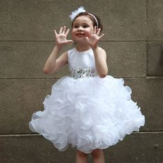 Pure White Girls Fromal Dress Flower Elegant Princess Girl Birthday Vestidos For 3 To 12 T Girls Clothes AKF164044 #Affiliate