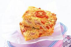 Ham and vegetable slice - This snack can do double duty for during and after school! Lunch Box Recipes, Lunch Snacks, Lunchbox Ideas, Kid Snacks, Breakfast Recipes, Savoury Slice, Savoury Tarts, Vegetable Slice, Egg Dish