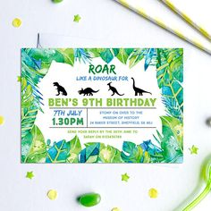 This listing is for a Dinosaur Birthday Invitation, Digital File, PDF, DIY, dinosaurs party invitation, Boys Birthday Invitation, dinosaur party printable This is a digital item no physical product will be sent. --DETAILS-- This listing is for a 4 x 6 inch, 5 x 7 inch or A6 (postcard size) digital invitation customized with your message. Please select your size from the drop down menu. Send your text details in the note to seller box. Any missing or incomplete information will delay your ...