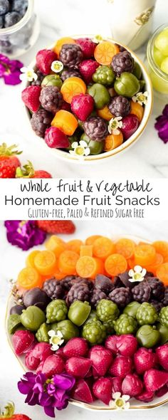 Homemade Fruit Snacks recipe made with whole fruits & vegetables made in the blender (Vitamix) Paleo, gluten-free, dairy-free & refined sugar free! Healthy Protein Snacks, Healthy Sugar, Healthy Fruits, Fruits And Veggies, Protein Fruit, Fruit Recipes, Baby Food Recipes, Snack Recipes, Healthy Recipes