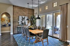 Charming Decoration De Cuisine Americaine Img10 - Déco Salle A Manger Style Industriel Dining Room Blue, Dining Table, Brick Interior, Warm Colors, Decoration, Interior Decorating, Decorating Ideas, Sweet Home, Patio