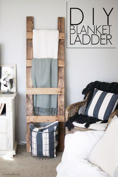 Learn how to make a DIY Blanket Ladder. With this simple tutorial and only 3 basic tools you can save space while neatly storing your blankets.