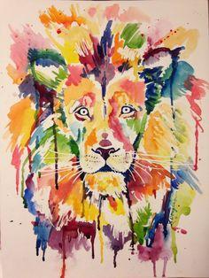 Wild Lion- Giclee Print of an original Kristin Douglas.  by KristinDouglasART on Etsy