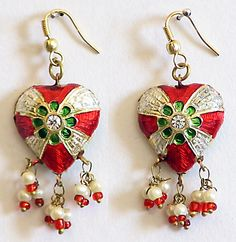 Red, White and Green Meenakari Heart Shaped Earrings $9.00 only