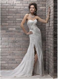 Sheath / Column Sweetheart Court Train Lace Wedding Dress