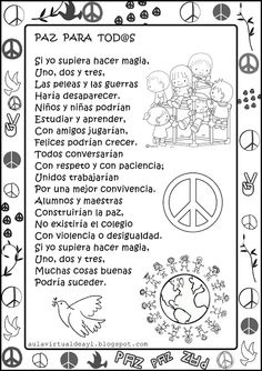 Aula virtual de audición y lenguaje: Poemas de la PAZ Teaching Spanish, Teaching Resources, Mexican Christmas Traditions, Peace Crafts, Story Sequencing, Coach Quotes, Bilingual Education, Classroom Organization, Colorful Pictures