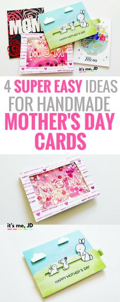#mothersday 4 Easy Ideas for Handmade Mother's Day Cards _ Tutorial on DIY Cards for Mom