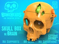 Boneheads: Skull Box w/ Brain - via 3DKitbash.com 3D Printing 19994