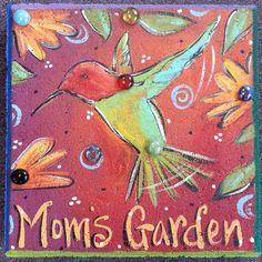 Hummingbird Garden Stone Stepping Stone Mom's by KathyHyatt Garden Pavers, Backyard Garden Landscape, Small Backyard Gardens, Garden Art, Garden Ideas, Fun Backyard, Garden Oasis, Garden Painting, Garden Edging