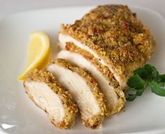 This might be for dinner!  Honey Mustard Crusted Chicken Breast with Pecans - Click for Recipe