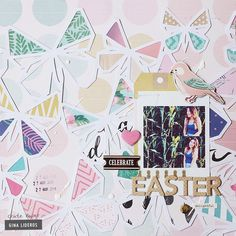 Hi, it's Gina here! Today I am going to share with you a layout that I created for Easter using the Oasis collection and Chasing Dreams collection from Maggie Holmes. Easter and butterflies go hand Mixed Media Scrapbooking, Digital Scrapbooking, Chasing Dreams, Acrylic Spray, Crate Paper, Easter Colors, Scrapbook Pages, Scrapbook Layouts, Color Splash