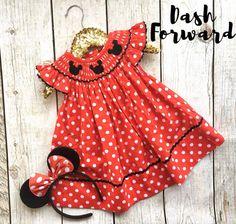 Cap Sleeve Mouse head Polka Dot Smock Bishop Dress Girl