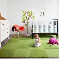 FLOR rug. They sell sectional carpeting for cheap which you can use to custom create any size/pattern/color of rug.