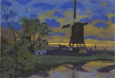Artwork by Léon Spilliaert, Landscape with windmill, Made of Watercolour and gouache