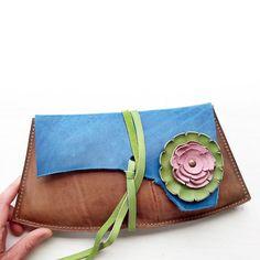 Leather Fairytale large clutch Purse, Bag ISOLDE 2856 blue skies, oak antique