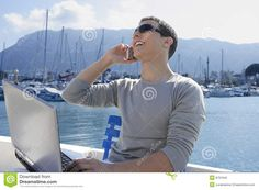 Businessman Working With Computer On A Boat Royalty Free Stock Photo ...