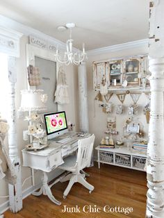 Shabby Chic Office Space with architectural elements