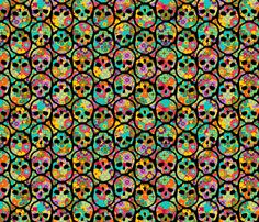 Day of the Dead Flowered Skull BLACK on multi - SMALL fabric by thirdhalfstudios on Spoonflower - custom fabric