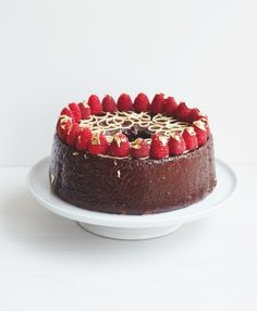 New Year chocolate & raspberry angel food cake by luis troyano from  'Bake it Great by Luis Troyano, published by Pavilion'.