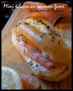 Mini-éclairs salés saumon fumé, crème citronnée ail