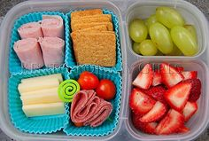 Meat, cheese, fruit