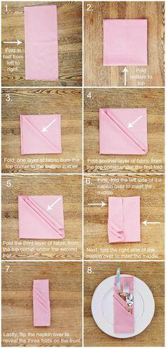 DIY: three pocket napkin fold: