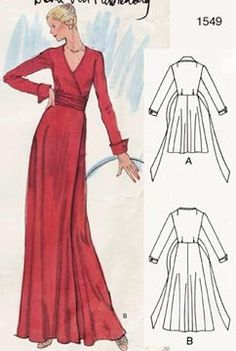 VOGUE 1549 DIANE VON FURSTENBERG WRAP DRESS PATTERN