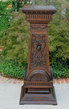 Antique English Oak Victorian Gothic Pedestal Display Table Plant Stand Large Sky Bridge