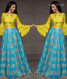 Lehenga Choli Designs, Saree Blouse Designs, Long Gown Dress, Lehnga Dress, Lehenga Blouse, Indian Designer Outfits, Indian Outfits, Party Kleidung, Sleeves Designs For Dresses
