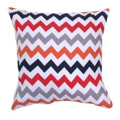 "Red Pillow Cover.Red Chevron Pillow Cover-Red Orange gray Zigzag Pillow CoverPillow Cover- 12"" x 16 "" or 12"" x 17"" or 12"" x 18"""