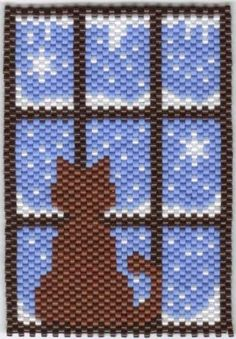 "Cat  in winter   #beadwork  About 3 1/4"" by 2""     *This makes a great window hanging in pony beads."