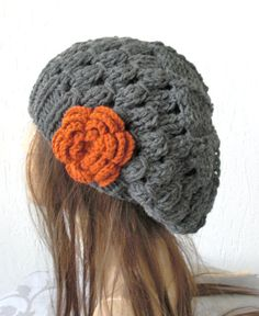 Hand Knit Womens  Hat   beret  Beanie in Charcoal Gray by Ebruk, $30.00