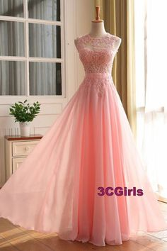 Modest prom dress, ball gown, beautiful pink chiffon + lace appliques O-neck prom dress for teens