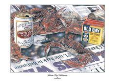Baltiomore, the Charm City, celebrates it's 4-year old Ravens football franchise's first Superbowl win!  This popular hand-drawn and colored artwork image by Jon Brown commemorates the Baltimore Sun's Front Page Headline celebrating Baltimore's first Superbowl win with Chesapeake blue crabs and Natty Boh beer!  Click here to buy prints and products of this image:   http://www.jwbartunlimited.com/products/charm-city-celebration  $50