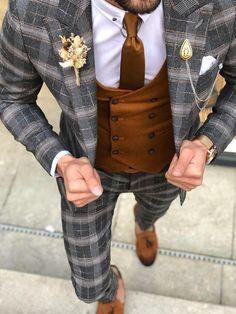 Available Size: Suit Material: viscose, polyester, elestan Machine Washable: No Fitting: Slim-Fit Cutting: Double Slits, Double Button Package Include: Suit Clothes: Jacket and Pants Plaid Suit, Suit Vest, Vest Jacket, Slim Fit Tuxedo, Tuxedo Suit, Mens Fashion Suits, Mens Suits, Men's Fashion, Blazer Outfits Men
