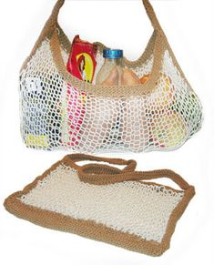 Free Knitting Pattern - Bags, Purses & Totes: Eco-Friendly Expandable Shopping Bag