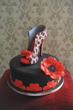 Gumpaste High-heel Shoe (part II) Birthday Wishes Cake, Birthday Cupcakes, 65th Birthday, Leopard Cake, Leopard Party, Cheetah, Shoe Cupcakes, Cupcake Cakes, High Heel Kuchen