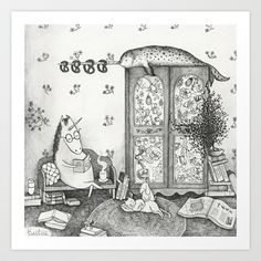 Unicorn house Art Print by Ulrika Kestere - $19.00