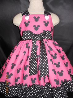 Toddler Dress, Baby Dress, Disney Minnie Mouse Black and Hot Pink, Polka dot Trim, From  My Princess and Her Doll, sizes 6 months thru 4t on Etsy, $44.95