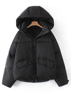 d8f1fabb607 Raglan Sleeve Padded Coat Romwe, Fashion Styles, Winter Jackets, Ss,  Hoodies,