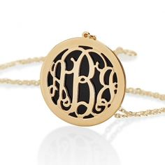 Gold Over Silver Monogram Necklace With Turquoise Background Monogram Earrings, Monogram Bracelet, Monogram Jewelry, Initial Necklace, Alphabet Necklace, Turquoise Background, Letter Pendants, Circle Monogram, Valentines Gifts For Her