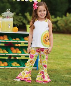 Another great find on #zulily! White & Yellow Tutti Frutti Tunic & Pants - Infant #zulilyfinds
