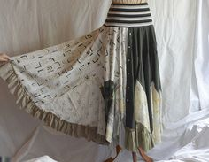Repurposed Men's Shirts Recycled Skirt Upcycled  Woman's Clothing Funky Style Shabby Chic Eco Friendly