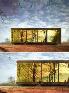 I've pinned this amazing house before, but this is a different time of day. The reflective glass windows make the house practically a work of art!