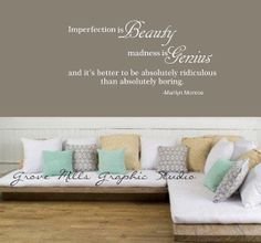 Imperfection is Beauty  Marilyn Monroe wall by GroveMillsGraphics, $30.00