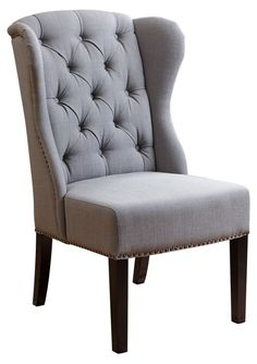 Darby Wingback Side Chair, Gray Linen