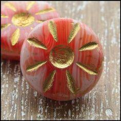 Czech Glass Daisy Beads Salmon Pink 12mm