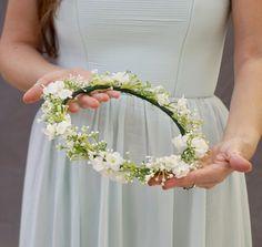 Baby's breath flower crown, bridal flower crown, flower crown wedding, baby's breath headband by WelcomingGraceCrafts on Etsy