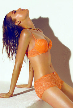 Sexy Orange Set by Blush  Lingerie - Padded Push-Up Bra Sheer Lace e576d701f